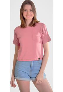 Camiseta Hurano Com Bolso Rosa - Rosa/Ros㪠- Feminino - Viscose - Dafiti