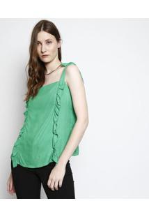 Blusa Com Botões & Babados - Verde- Ahaaha