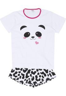 Short Doll Panda - Branco & Pinkzulai