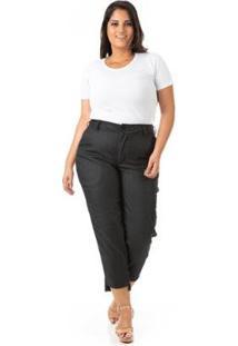 Calça Capri Cintura Alta Casual Plus Size Confidencial Extra Feminina - Feminino-Preto