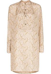 Etro Vestido De Seda Com Estampa Paisley - Neutro
