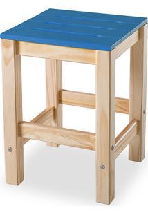 Banqueta Baixa Sem Encosto Colorida De Madeira Maciça Taeda Olga - Verniz Natural/Azul 32X32X45Cm
