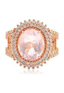 Anel Ouro Rosé Quartzo E Diamantes