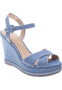 Sandália Anabela Texturizada- Azul & Brancaarezzo & Co.
