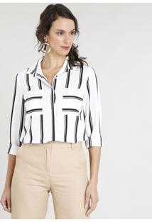 5f4423886 ... Camisa Feminina Listrada Com Bolsos Manga Longa Branca