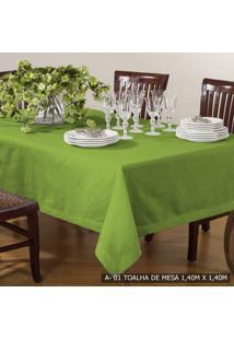 Toalha De Mesa Quadrada 140Cmx140Cm Canvas Tecelagem Damata Verde Grama