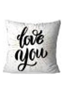 Capa De Almofada Avulsa Decorativa Love You 45X45Cm