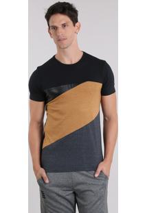 Camiseta Com Recortes Geométricos Preta
