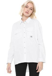 Camisa Calvin Klein Jeans Bolsos Branca