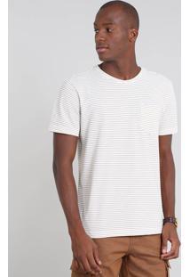 Camiseta Masculina Em Piquet Listrada Com Bolso Manga Curta Off White