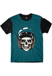 Camiseta Bsc Caveira De Capacete Risco Olho Masculina - Masculino-Azul
