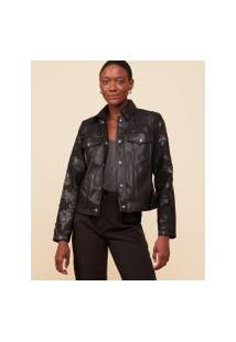 Amaro Feminino Jaqueta Leather Renda, Preto