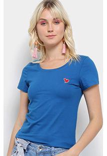 Camiseta Top Moda Bordado Coração Feminina - Feminino-Azul