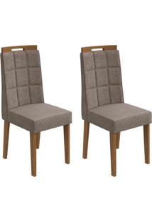 Conjunto De Cadeiras De Jantar 2 Nevada Veludo Imbuia E Cinza