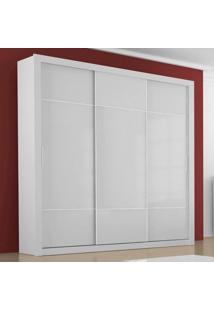 Guarda-Roupa 3 Portas De Correr Arezzo 100 Mdf 4 Gavetas Sem Espelho Branco - Novo Horizonte