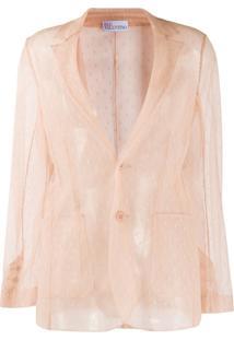 Redvalentino Sheer Mesh Single-Breasted Jacket - Neutro