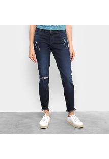 Calça Jeans Skinny Colcci Fátima Puídos Cintura Média Feminina - Feminino-Jeans