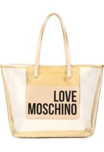 Love Moschino Bolsa Tote Com Logo - Dourado