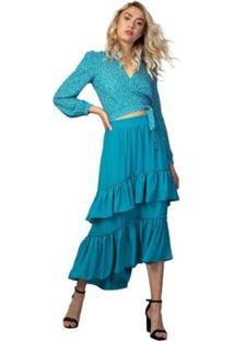 Blusa Ml Transpassada Feminina - Feminino-Azul Turquesa
