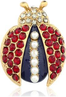 Broche Le Diamond Joaninha Com Cristais Dourada - Kanui