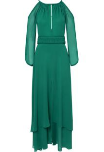 Vestido Bobô Cleópatra Longo Festa Seda Verde Feminino (Verde Claro, 38)
