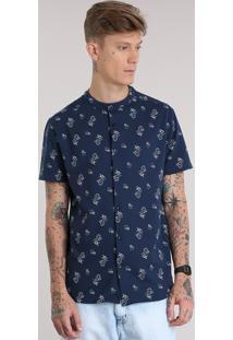 Camisa Estampada De Sereias Gola Padre Em Piquet Azul Marinho