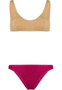 Oseree Metallic Lurex Bikini - Dourado