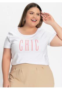 Blusa Branca Com Estampa Na Frente Plus Size
