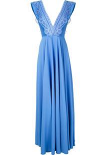 Martha Medeiros Vestido Longo Germana Rendado - Azul