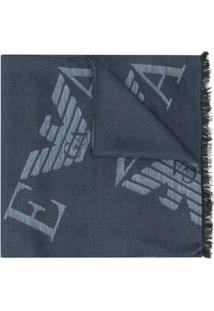 Emporio Armani Cachecol De Tricô Com Estampa De Logo - Azul