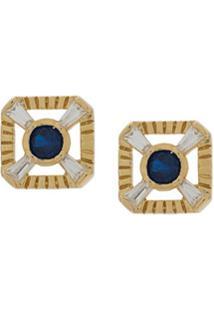 V Jewellery Par De Brincos Eleanor Com Tachas - Dourado