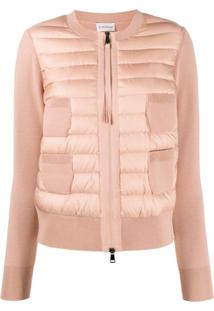 Moncler Padded Collarless Cardigan - Rosa
