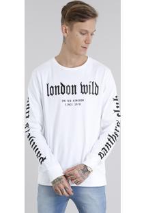 """Camiseta Masculina """"London Wild"""" Em Moletom Manga Longa Gola Careca Off White"""