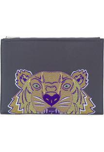 Kenzo Clutch Com Tigre Bordado - Cinza