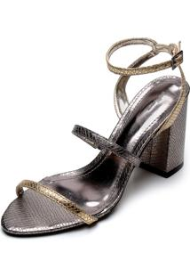 Sandália Dafiti Shoes 9 Anos Metalizada Dourada