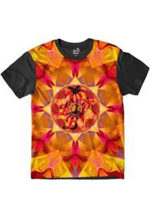 Camiseta Long Beach Psicodélica Ilusão Sublimada Masculina - Masculino-Laranja+Preto