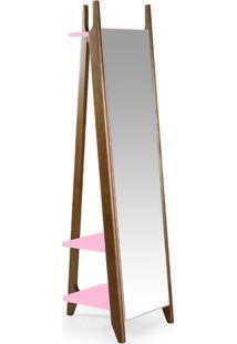 Espelho De Chão 2 Prateleiras Stoka Maxima Nogal/Rosa Cristal