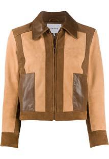 Frame Leather Patchwork Jacket - Marrom