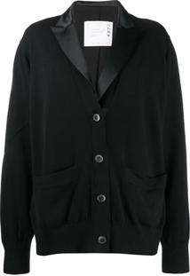 Sacai Relaxed Fit Knitted Blazer - Preto