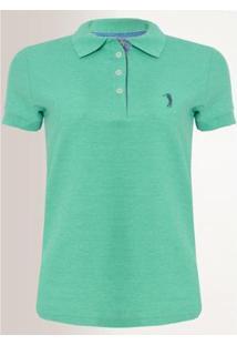 Camisa Polo Aleatory Feminina Piquet Lycra - Feminino-Verde