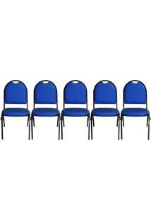 Kit 05 Cadeiras Pethiflex Essencial Hot Fixável Couro Azul