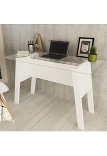 Mesa Para Escritório Tampo Vidro Me4134 Branco - Tecno Mobili