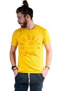 Camiseta Mister Fish Estampado Brooklyn Nyc Masculina - Masculino-Mostarda