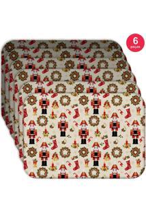 Jogo Americano Love Decor Wevans Quebra Nozes Natalino Kit Com 6 Pçs