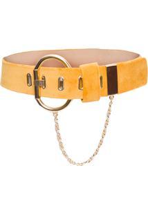 Cinto Feminino Velvet Chain - Amarelo