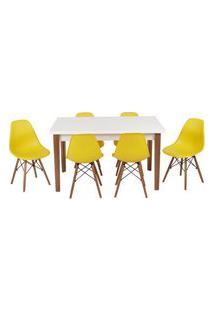 Conjunto Mesa De Jantar Luiza 135Cm Branca Com 6 Cadeiras Eames Eiffel - Amarelo