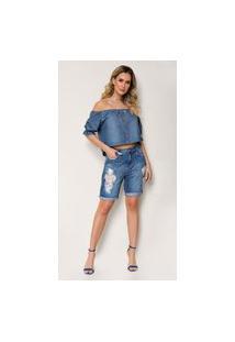 Bermuda Jeans Express Meia Coxa Xoxo Destroyed Azul