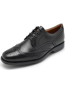 Sapato Couro Richards Brogue Preto