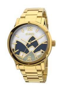 Relógio Euro Feminino Madrepérola Dourado