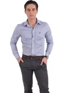 Camisa Social Listrada Horus Slim 100230 Azul
